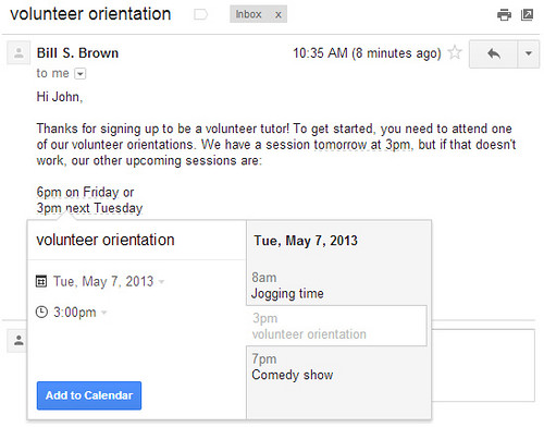 Add events to Google Calendar from Gmail